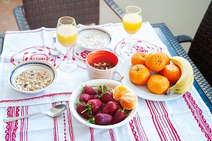 Breakfast on the table, juice