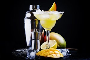 Alcoholic cocktail mango daiquiri wi