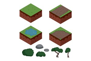 Set of cartoon isometric ground