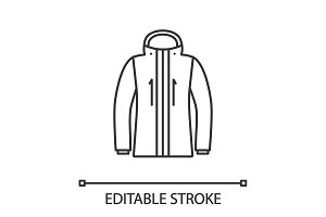 Ski jacket linear icon