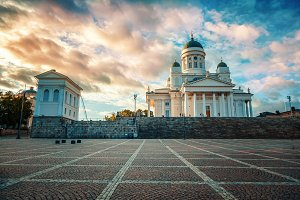 Cathedral, Helsinki at sunset