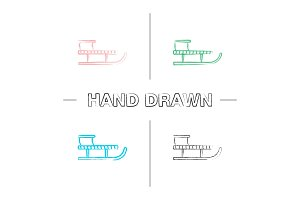 Sled hand drawn icons set