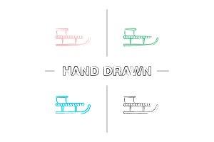 Sled hand drawn icons set