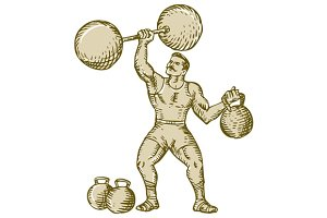 Strongman Lifting Barbell Kettlebell