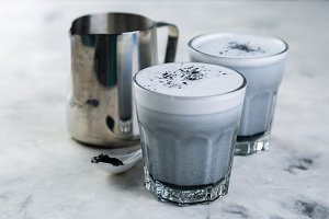 Food trend - charcoal latte on
