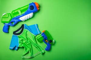 Summer fun concept - water gun and