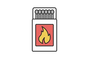 Open matchbox with matchsticks icon