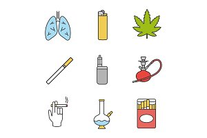 Smoking color icons set