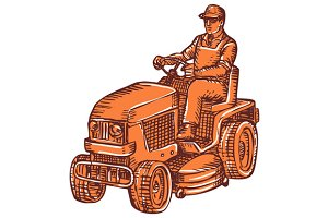 Gardener Ride-On Mower Etching