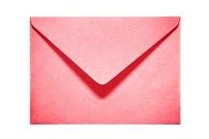 Half open red paper envelope