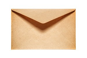 Half open old yellow paper envelope