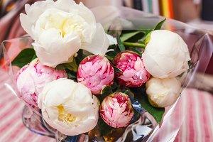 Delicate bouquet of peonies