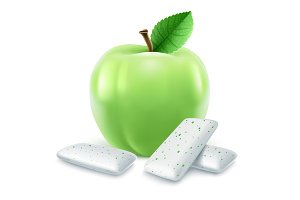 Pads of bubble gum with green apple