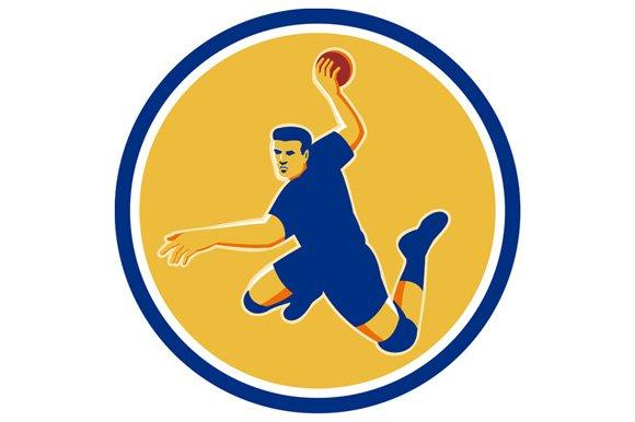 Handball Player Striking Circle Retr