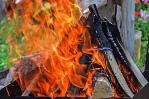 Burning logs in fire