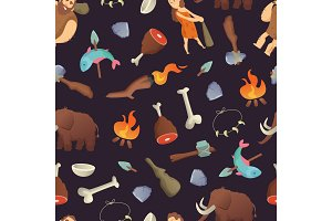 Vector cartoon cavemen pattern