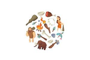 Vector cartoon cavemen in circle
