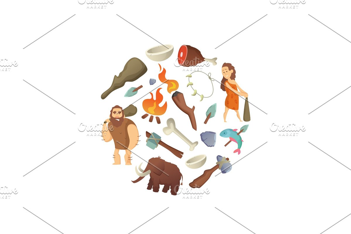 Vector cartoon cavemen in circle