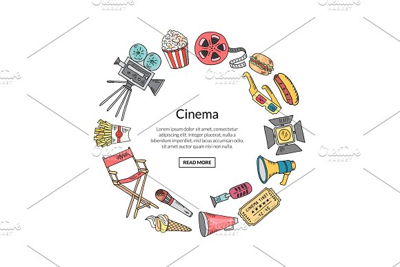 Vector cinema doodle icons in circle