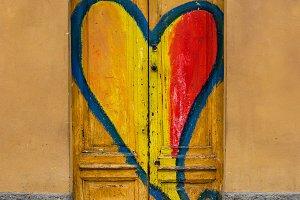 Painted heart in a door