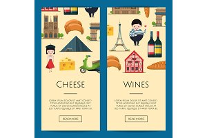 Vector cartoon France sights banners