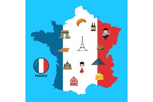 Vector cartoon France sights on