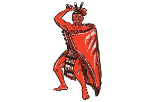 Maori Chief Warrior Holding Patu Etc