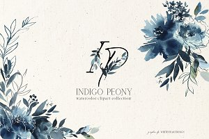 Indigo Peony Watercolor Floral Set