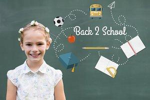 Back 2 school graphics on blackboard