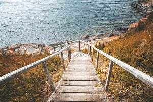 Wooden  stairs to the sea
