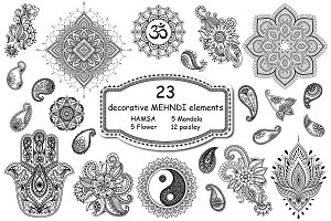 Mehndi elements set in Asian style