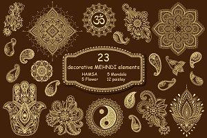 Mehndi elements set in Asian style