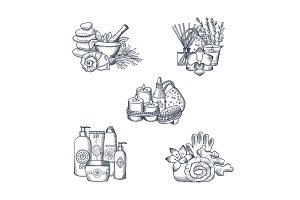 Vector hand drawn spa elements piles