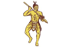 Maori Chief Warrior Holding Taiaha E