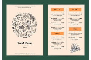 Vector restaurant or cafe menu with