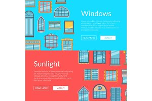 Vector window flat icons horizontal