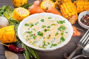 corn cream soup with sour cream and