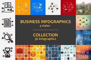36 business infographics. 4 styles