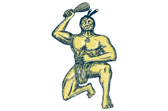 Maori Warrior Wielding Patu Kneeling