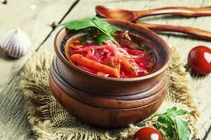 Traditional Russian soup borscht wit