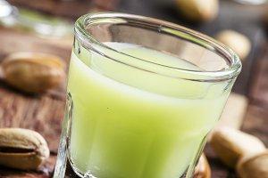 Homemade liqueur made from pistachio