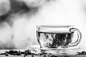 Black and white photo. Cup of  black