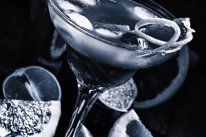 Black and white photo. Citrus cockta