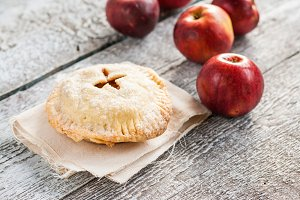 American apple pie on wooden rustic