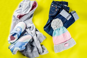 Autumn kids cloth concept