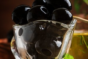 Spanish black olives and olive oil,