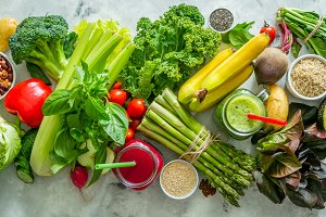 Alkaline diet concept - fresh foods