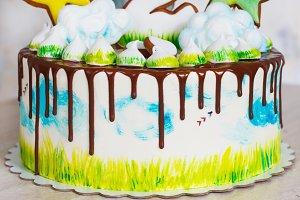Children's bright modern cake with