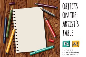 Vector objects on the artist table