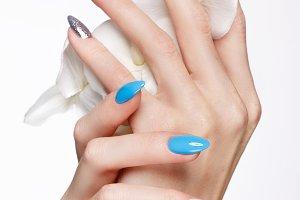 Beautiful summer blue manicure